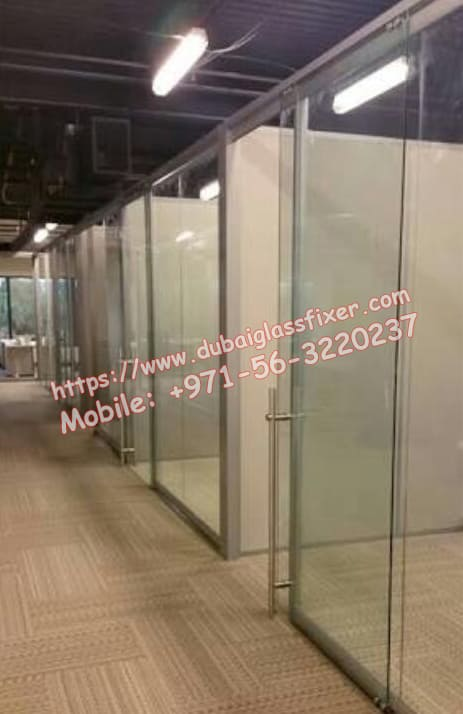 low glass partition in warehouse